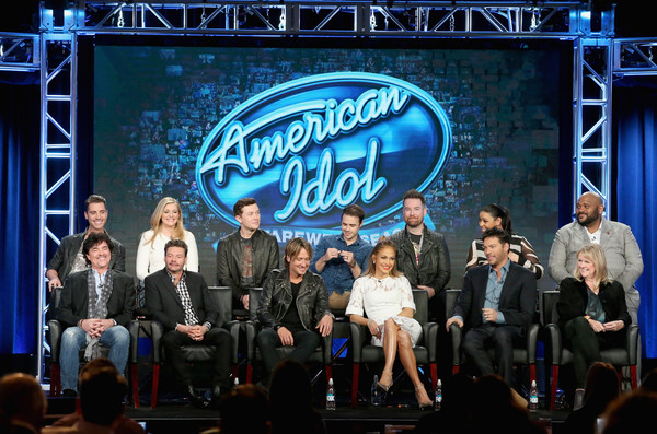 2016 Winter TCA Tour - Day 11 [scott borchetta,harry connick jr.,keith urban,jennifer lopez,ryan seacrest,nick fradiani,trish kinane,david cook,l-r,event,performance,stage,stage equipment,heater,talent show,performing arts,music,competition,musical theatre,winter tca]