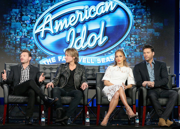 2016 Winter TCA Tour - Day 11 [american idol,event,performance,talent show,stage,advertising,competition event,television program,company,performing arts,audience,winter tca,keith urban,ryan seacrest,harry connick jr.,jennifer lopez,l-r,langham huntington hotel,panel discussion,winter tca tour]