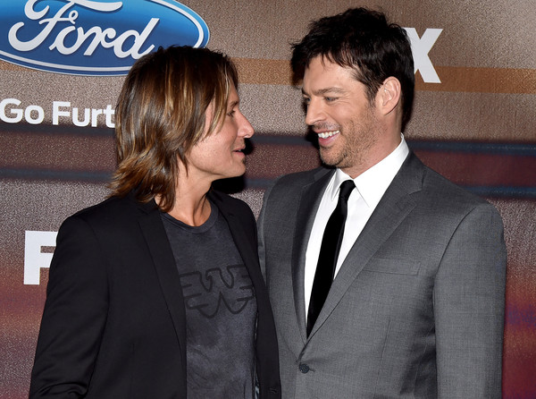 'American Idol XIV' Finalist Party [suit,event,premiere,formal wear,white-collar worker,tuxedo,gesture,smile,official,party - arrivals,keith urban,harry connick jr.,american idol xiv,california,los angeles,the district,fox,l,finalist party]