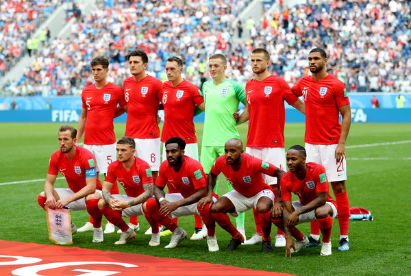 Belgium vs. England: 3rd Place Playoff - 2018 FIFA World Cup Russia [team photo,team,sports,soccer player,sport venue,team sport,ball game,player,football player,stadium,international rules football,players,russia,england,belgium,saint petersburg stadium,3rd place playoff - 2018 fifa world cup,match,russia 3rd place playoff,2018 fifa world cup]