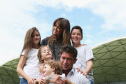 Harry Kewell poses with his wife Sheree Murphy and his children Dolly Kewell, Ruby Kewell, Matilda Kewell and Taylor Kewell during a Melbourne Heart A-League press conference at AAMI Park on March 26, 2014 in Melbourne, Australia. Kewell will play out the current A-League season before ending his career which totaled 58 Socceroos caps over 18 years.
