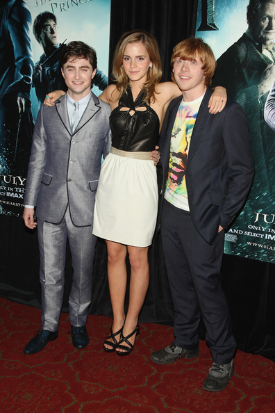 "Actors Daniel Radcliffe, Emma Watson and Rupert Grint attend the ""Harry Potter and the Half-Blood Prince"" premiere at Ziegfeld Theatre on July 9, 2009 in New York City."