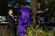 "Alex Zane unveils the new Harry Potter statue at Leicester Square on September 30, 2020 in London, England. The statue is part of the ""Scenes in the Square"" film trail."