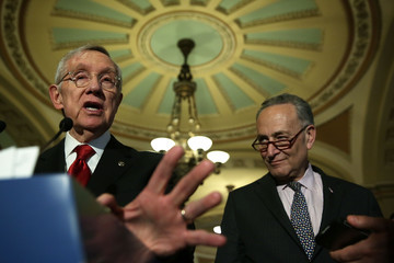 Harry Reid Charles Schumer Lawmakers Speak to Press After Their Weekly Policy Luncheons on Capitol Hill
