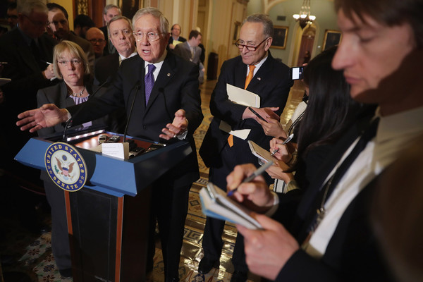 Senate Lawmakers Address the Press After Their Weekly Policy Luncheons [harry reid,lawmakers,richard durbin,charles schumer,patty murray,democratic,reporters,event,community,their weekly policy luncheons,senate,press]