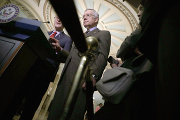 Harry Reid Charles Schumer Senate Lawmakers Address the Media After Their Weekly Policy Luncheons