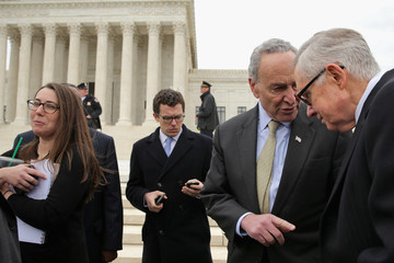 Harry Reid Charles Schumer Senate Dems Call for Confirmation of a New Justice in Front of Supreme Court