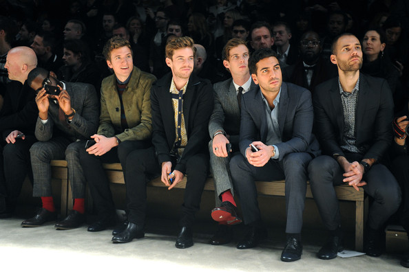 Burberry Prorsum: Front Row - Milan Fashion Week Menswear Autumn/Winter 2013 [social group,people,event,audience,suit,team,performance,formal wear,harry treadaway,luke treadaway,tinie tempah,elyas mbarek,greg james,front row,menswear autumn,l-r,burberry prorsum,milan fashion week]