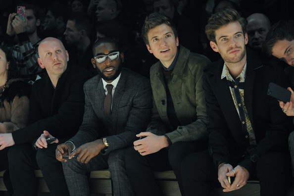Burberry Prorsum: Front Row - Milan Fashion Week Menswear Autumn/Winter 2013 [event,suit,audience,photography,formal wear,businessperson,crowd,tinie tempah,greg james,harry treadaway,front row,menswear autumn,part,l-r,burberry prorsum,tinie tempah prorsum,milan fashion week]