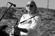Image has been digitally converted to black and white.) Neil Young performs at Harvest Moon: A Gathering to benefit The Painted Turtle and The Bridge School at Painted Turtle Camp on September 14, 2019 in Lake Hughes, California.
