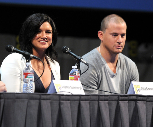 "Actors Gina Carano and Channing Tatum speak at ""Haywire"" Panel during Comic-Con 2011 on July 22, 2011 in San Diego, California."