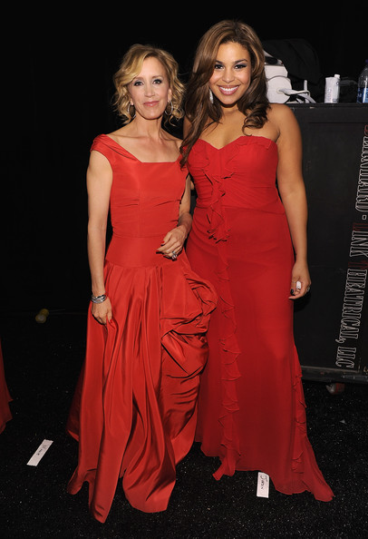 Felicity Huffman and Jordin Sparks attend backstage during The Heart Truth Red Dress Collection Fall 2010 during Mercedes-Benz Fashion Week at Bryant Park on February 11, 2010 in New York City.