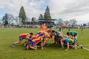 A scrum packs during the round one Heartland Championship match between Mid Canterbury and North Otago at Ashburton Showground on August 27, 2016 in Ashburton, New Zealand.