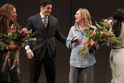 """(L-R) Actors Trace Chimo, Jason Biggs and Elisabeth Moss take a bow at the curtain call for """"The Heidi Chronicles"""" Broadway Opening Night at The Music Box Theatre on March 19, 2015 in New York City."""