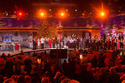 Andy Borg (L-R), Stefanie Hertel, Alfons Schuhbeck, Carmen Nebel, Romina Power, Al Bano Carrisi, Ella Endlich, Matze Knop and others attend the taping of the TV show 'Heiligabend mit Carmen Nebel' on November 27, 2014 in Munich, Germany.