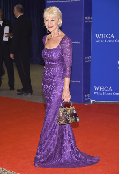 102nd White House Correspondents' Association Dinner - Arrivals [red carpet,carpet,gown,dress,clothing,flooring,hairstyle,fashion,shoulder,premiere,arrivals,helen mirren,washington dc,white house correspondents association dinner]