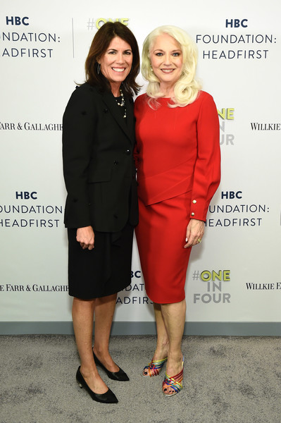 HBC Foundation HEADFIRST Cocktail Reception [clothing,red,dress,cocktail dress,fashion,footwear,event,little black dress,premiere,suit,helena foulkes,cynthia germanotta,hbc foundation headfirst cocktail reception,saks,lavenue,new york city]
