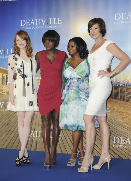 (L-R) Actresses Emma Stone,Viola Davis, Octavia Spencer and Allison Janney pose at 'The Help' Photocall during 37th Deauville American Film Festival on September 3, 2011 in Deauville, France.