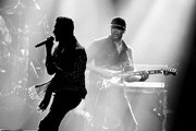 Image has been digitally converted to black and white.) Perry Farrell and Tom Morello perform at I Am The Highway: A Tribute to Chris Cornell at the Forum on January 16, 2019 in Inglewood, California.