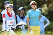 Rikako Morita of Japan looks on during the first round of the Hoken No Madoguchi Ladies at the Fukuoka Country Club on May 11, 2018 in Fukuoka,Japan.