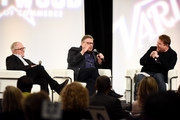 Irving Azoff,  Lucien Grange and James Corden attend The Hollywood Chamber's 7th Annual State Of The Entertainment Industry Conference Presented By Variety at Loews Hollywood Hotel on November 15, 2018 in Hollywood, California.