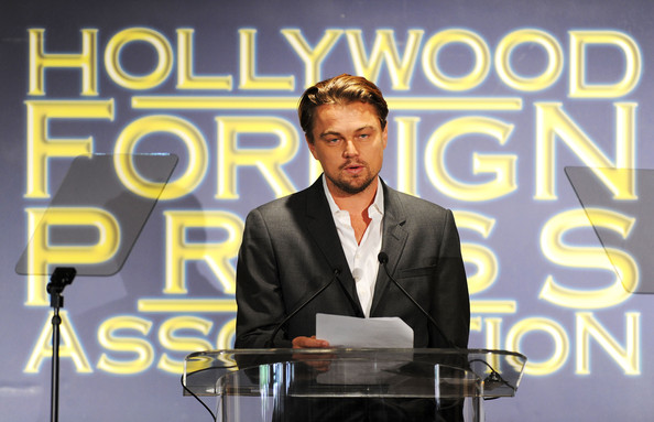 Actor Leonardo DiCaprio speaks onstage during the Presentation of Grants at the Hollywood Foreign Press Association's 2011 Installation Luncheon at Beverly Hills Hotel on August 4, 2011 in Beverly Hills, California.