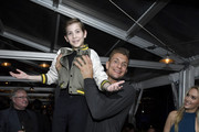 (L-R) Jacob Tremblay, Rob Gronkowski and Camille Kostek attend the Hollywood Foreign Press Association and The Hollywood Reporter Celebration of the 2020 Golden Globe Awards Season and Unveiling of the Golden Globe Ambassadors at Catch on November 14, 2019 in West Hollywood, California.