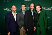 (L-R) Marco Morabito, Peter Spears, Luca Guadagnino, and Timothee Chalamet attend The Hollywood Reporter 6th Annual Nominees Night at CUT on February 5, 2018 in Beverly Hills, California.