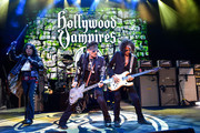 Alice Cooper, Johnny Depp, Joe Perry of The Hollywood Vampires perform at The Greek Theatre on May 11, 2019 in Los Angeles, California.