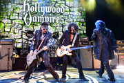 Johnny Depp, Joe Perry, and Alice Cooper of The Hollywood Vampires perform at The Greek Theatre on May 11, 2019 in Los Angeles, California.