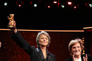 (L-R) Charlotte Rampling is seen on stage next to Liliana Cavani at the Homage Charlotte Rampling Honorary Golden Bear award ceremony during the 69th Berlinale International Film Festival Berlin at Berlinale Palace on February 14, 2019 in Berlin, Germany. Rampling is this years recipient of the Honorary Golden Bear Award of the Berlinale.