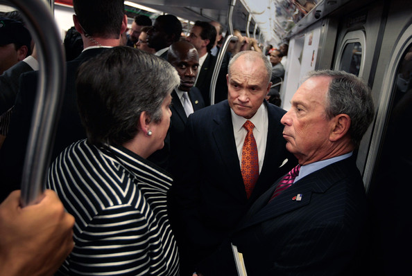 U.S. Secretary of the Department of Homeland Security Janet Napolitano rides the subway with New York City Mayor Michael Bloomberg (R) and  New York City Police Commissioner Ray Kelly (C) July 29, 2009 in New York City. The head of the Department of Homeland Security is scheduled for several stops in New York today, including Ground Zero, as she addresses national security issues. Napolitano has also initiated a review of the color- coded terror-alert system deemed vague by critics that's intended to inform the public on terror threats.