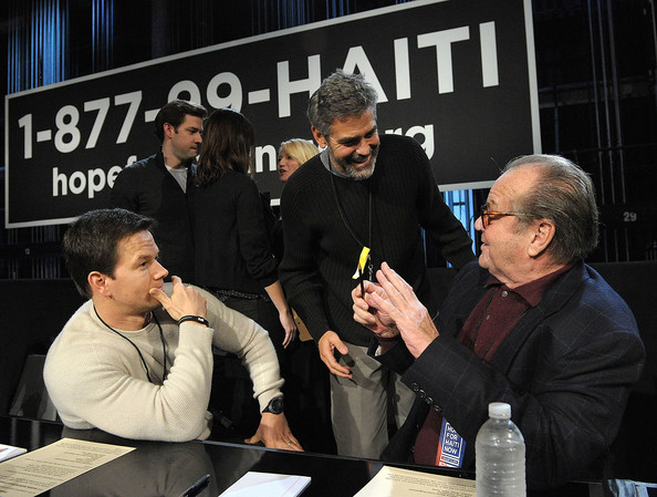 In this handout photo provided by MTV, Actors Mark Wahlberg, George Clooney and Jack Nicholson talk at the phone bank during the Hope For Haiti Now: A Global Benefit For Earthquake Relief at CBS Television City January 22, 2010 in Los Angeles, Californa.