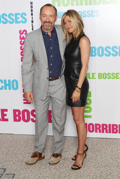 (UK TABLOID NEWSPAPERS OUT) Jennifer Aniston and Kevin Spacey pose for a photocall to promote the UK release of Horrible Bosses at The Dorchester on July 20, 2011 in London, England.
