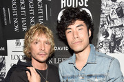 Ken Paves (L) and Eugene Lee Yang attend the House 99 by David Beckham party hosted by Ken Paves at his salon in West Hollywood on August 20, 2018 in West Hollywood, California.