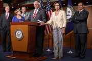 (L-R) Rep. Chris Van Hollen (D-MD), Rep. Louise Slaughter (D-NY), Rep. Steve Israel (D-NY), House Minority Whip Steny Hoyer (D-MD), House Minority Leader Nancy Pelosi (D-CA) and Rep. Xavier Becerra (D-CA) hold a news conference after the House voted 225-201 to authorize a lawsuit against the President Barack Obama at the U.S. Capitol July 30, 2014 in Washington, DC. The House passed the Republican legislation authorizing the lawsuit that claims Obama overstepped his powers in ordering changes to his signature health care law, the Affordable Care Act.
