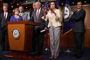 (L-R) Rep. Chris Van Hollen (D-MD), Rep. Louise Slaughter (D-NY), Rep. Steve Israel (D-NY), Rep. Joseph Crowley (D-NY), House Minority Whip Steny Hoyer (D-MD), House Minority Leader Nancy Pelosi (D-CA) and Rep. Xavier Becerra (D-CA) hold a news conference after the House voted 225-201 to authorize a lawsuit against the President Barack Obama at the U.S. Capitol July 30, 2014 in Washington, DC. The House passed the Republican legislation authorizing the lawsuit that claims Obama overstepped his powers in ordering changes to his signature health care law, the Affordable Care Act.