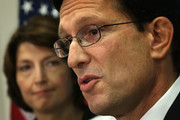 U.S. House Majority Leader Rep. Eric Cantor (R-VA) speaks as House Republican Conference chairman Rep. Cathy McMorris Rodgers (R-WA) looks on during an event addressing health care priorities and funding October 3, 2013 on Capitol Hill in Washington, DC. The U.S. Government has been shut down for a third day as Republicans and the Obama Administration have not come up with a solution to end the stalemate.