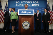 U.S. Speaker of the House Rep. John Boehner (R-OH) (C) speaks as (L-R) House Majority Whip Rep. Kevin McCarthy (R-CA), Rep. Cathy McMorris Rodgers (R-WA), Rep. Charles Boustany (R-LA), and House Majority Leader Rep. Eric Cantor (R-VA) listen during a news conference after a closed House Republican Conference meeting May 15, 2013 on Capitol Hill in Washington, DC. Boehner spoke on various topics, including reports that the Internal Revenue Service targeted Tea Party groups for additional scrutiny.