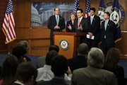 U.S. House Majority Leader Rep. Eric Cantor (R-VA) (C) speaks as (L-R) Rep. Dave Camp (R-MI), Rep. Diane Black (R-TN), Rep. Paul Ryan (R-WI), and Rep. Jeb Hensarling (R-TX) listen during a news conference April 13, 2011 on Capitol Hill in Washington, DC. Cantor held a news conference to discuss job creation and the budget for 2012.