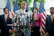 Speaker of the House John Boehner (R-OH) (C) answers reporters' questions during a brief press conference with (L-R) House Majority Leader Eric Cantor (R-VA), Rep. Cathy McMorris Rodgers (R-WA) and Rep. Jeb Hensarling (R-TX) after the weekly House GOP caucus meeting at the U.S. Capitol June 6, 2012 in Washington, DC. The House Republican leaders said that letting the Bush tax cuts for the wealthest Americans expire would be  harmful for the economy and proposed the cuts be extended for a year so Congress could reform the tax code.