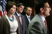 U.S. House Majority Leader Rep. Eric Cantor (R-VA) (R) speaks as Speaker of the House Rep. John Boehner (R-OH) (2nd R), House Budget Committee Chairman Rep. Paul Ryan (R-WI) (2nd L), and House Republican Conference Vice Chairman Rep. Cathy McMorris Rodgers (R-WA) listen during a news conference after a House Republican Conference meeting July 18, 2012 at the Capitol Hill Club in Washington, DC. House Republicans continued to challenge the Obama Administration on the speed of job creations.