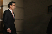 House Majority Leader Eric Cantor (R-VA) heads into a last-minute Republican caucus meeting at the U.S. Captiol June 11, 2014 in Washington, DC. Cantor announced that he will resign his leadership position in the House of Representatives on July 31 after losing a primary race to Tea Party-backed college professor David Brat.