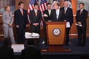 Members of the House Financial Services Committee (L-R) Rep.  Shelly Moore Capito (R-WV), Rep. Robert Dold (R-IL),  Jeb Hensarling (R-TX), Rep. Francisco Canseco (R-TX), Rep. Scott Garrett (R-NJ), Rep. Randy Neugebauer (R-TX) and Chairman Spencer Bachus (R-AL) hold a news conference to discuss the impact of the Dodd-Frank financial reform law September 8, 2011 in Washington, DC. Bachus said that Treasury Secretary Timothy Geither promised the financial reform law would not add new regualtion, but that Dodd-Frank has done the opposite.
