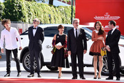 Yann Tregoue, Jean-Pierre Darroussin, Ariane Ascaride, Robert Guediguian, Anais Demoustie and  Robinson Stevenin  walk the red carpet ahead of the 'The House By The Sea (La Villa)' screening during the 74th Venice Film Festival at Sala Grande on September 3, 2017 in Venice, Italy.
