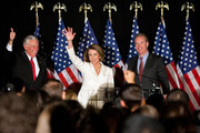 (L-R) House Majority Leader Rep. Steny Hoyer (D-MD), House Speaker Rep. Nancy Pelosi (D-CA), and Rep. Chris Van Hollen (D-MD), chairman of the Democratic Congressional Campaign Committee, attend an election-night rally held by the DCCC on November 2, 2010 in Washington, DC. Congressional Democrats were expected to suffer big losses in the midterm elections, with Republicans poised to gain control of the House.