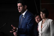 (L-R) U.S. Speaker of the House Rep. Paul Ryan (R-WI) speaks as Rep. MIke Johnson (R-LA) and House Republican Conference Chair Cathy McMorris Rodgers (R-WA) listen during a news conference June 20, 2018 on Capitol Hill in Washington, DC. House Republicans held a conference meeting to discuss immigration.