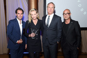 Editor in Chief of ELLE Decor, Whitney Robinson, Design Entrepreneur Award Winner, Founder & CEO, General Public, Portia de Rossi, Design on a Dime Founding Chair, James Huniford, and Designer Cliff Fong pose during the Housing Works' Groundbreaker Awards Dinner 2019 on April 24, 2019 in New York City.