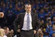 Billy Donovan of the Oklahoma City Thunder reacts to game action against the Houston Rockets during the first half of Game Three in the 2017 NBA Playoffs Western Conference Quarterfinals  on April 21, 2017 in Oklahoma City, Oklahoma.   NOTE TO USER: User expressly acknowledges and agrees that, by downloading and or using this photograph, User is consenting to the terms and conditions of the Getty Images License Agreement.