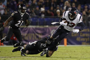 Wide Receiver Braxton Miller #13 of the Houston Texans is tackled after a catch in the third quarter against the Baltimore Ravens at M&T Bank Stadium on November 27, 2017 in Baltimore, Maryland.